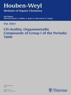 cover image of Houben-Weyl Methods of Organic Chemistry Volume XIII/1