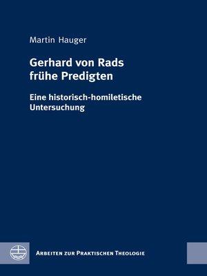 cover image of Gerhard von Rads frühe Predigten