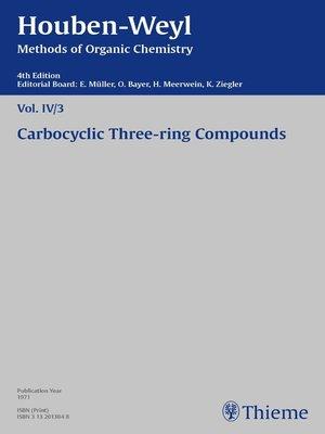 cover image of Houben-Weyl Methods of Organic Chemistry Volume IV/3