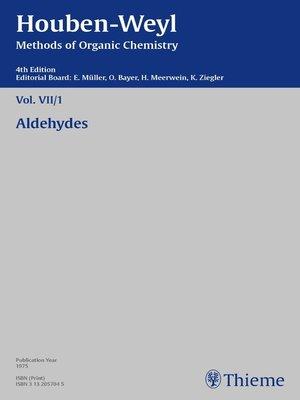 cover image of Houben-Weyl Methods of Organic Chemistry Volume VII/1