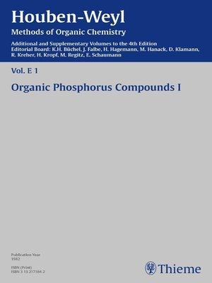 cover image of Houben-Weyl Methods of Organic Chemistry Volume E 1 Supplement