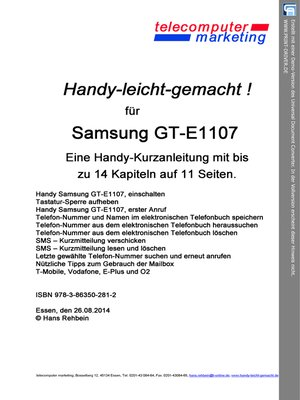 cover image of SAMSUNG GT-E1107 leicht-gemacht