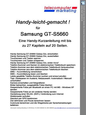 cover image of SAMSUNG GT-S5660 Galaxy Gio leicht-gemacht