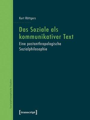 cover image of Das Soziale als kommunikativer Text