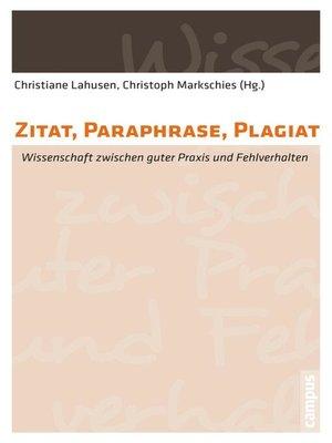 cover image of Zitat, Paraphrase, Plagiat