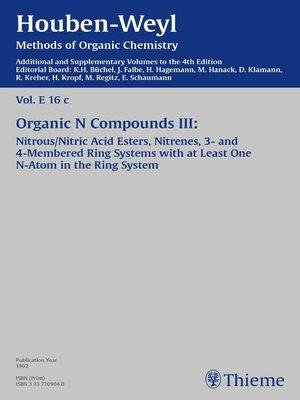 cover image of Houben-Weyl, Volume E 16c Supplement