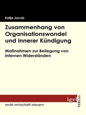 cover image of Zusammenhang von Organisationswandel und innerer Kündigung
