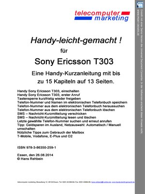 cover image of Sony Ericsson T303-leicht-gemacht