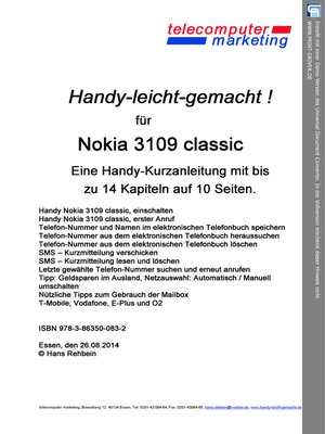 cover image of Nokia 3109 classic-leicht-gemacht