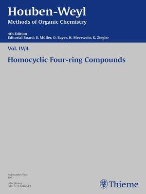 cover image of Houben-Weyl Methods of Organic Chemistry Volume IV/4