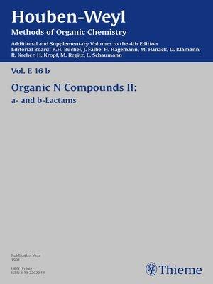 cover image of Houben-Weyl Methods of Organic Chemistry Volume E 16b Supplement