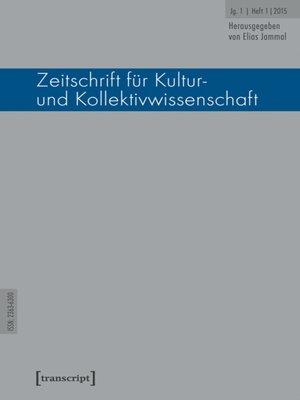 cover image of Serie Zeitschrift für Kultur- und Kollektivwissenschaft, Buch 1