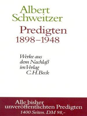 cover image of Predigten 1898-1948
