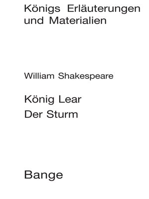 cover image of König Lear / Der Sturm (King Lear / the Tempest). Textanalyse und Interpretation.