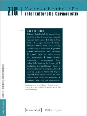 cover image of Serie Zeitschrift für interkulturelle Germanistik, Buch 8