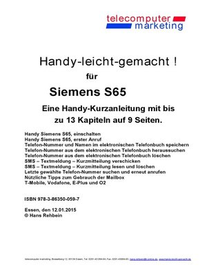 cover image of Siemens S65-leicht-gemacht