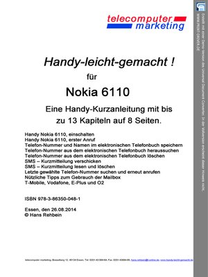 cover image of Nokia 6110-leicht-gemacht