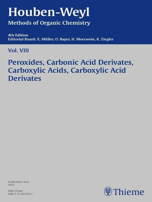 cover image of Houben-Weyl Methods of Organic Chemistry Volume VIII