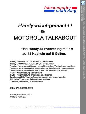 cover image of Motorola Talkabout-leicht-gemacht