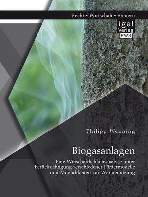 cover image of Biogasanlagen
