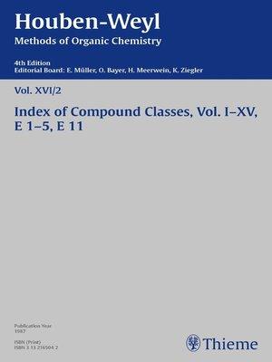 cover image of Houben-Weyl Methods of Organic Chemistry Volume XVI/2