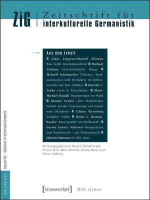 cover image of Serie Zeitschrift für interkulturelle Germanistik, Buch 1