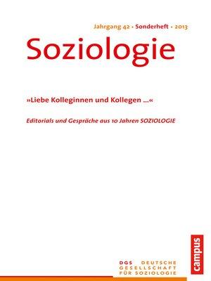 cover image of Soziologie Jg. 42 (2013) Sonderheft
