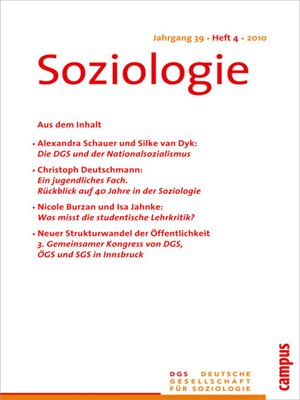 cover image of Soziologie 4.2010