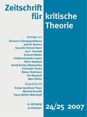 cover image of Zeitschrift für kritische Theorie / Zeitschrift für kritische Theorie, Heft 24/25