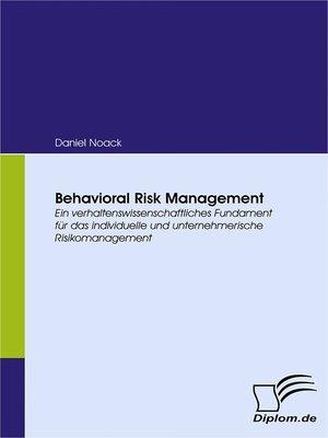 cover image of Behavioral Risk Management