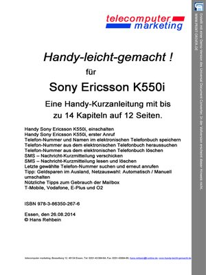 cover image of Sony Ericsson K550i leicht-gemacht