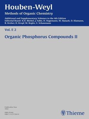 cover image of Houben-Weyl Methods of Organic Chemistry Volume E 2 Supplement