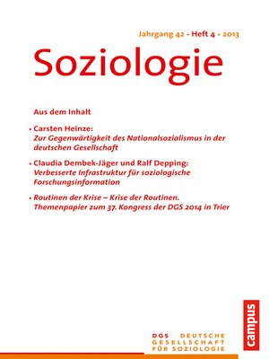 cover image of Soziologie 4.2013