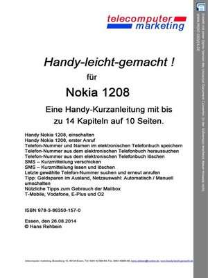 cover image of Nokia 1208-leicht-gemacht