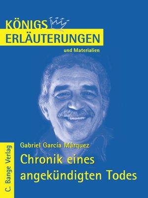 cover image of Chronik eines angekündigten Todes von Gabriel García Márquez. Textanalyse und Interpretation.