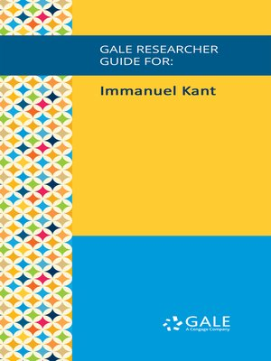 cover image of Gale Researcher Guide for: Immanuel Kant