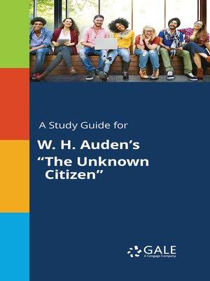 wh auden the unknown citizen analysis