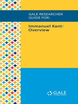 cover image of Gale Researcher Guide for: Immanuel Kant: Overview