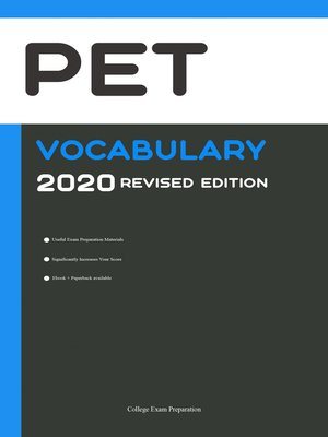 cover image of PET Vocabulary 2020 Revised Edition