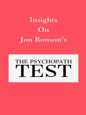 cover image of Insights On Jon Ronson's the Psychopath Test
