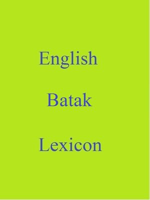 cover image of English Batak Lexicon