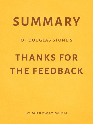 cover image of Summary of Douglas Stone's Thanks for the Feedback