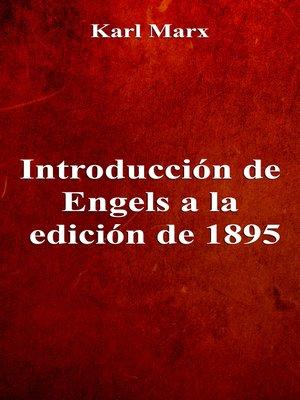 cover image of Introducción de Engels a la edición de 1895