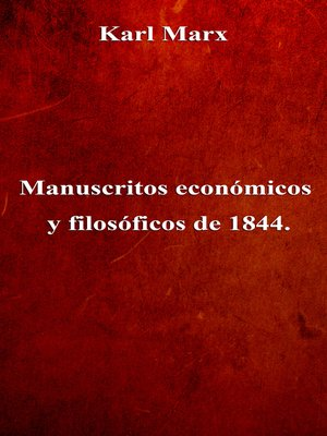 cover image of Manuscritos económicos y filosóficos de 1844.