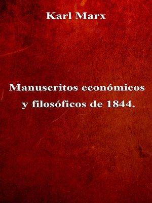 cover image of Manuscritos económicos y filosóficos de 1844.