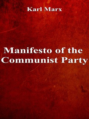 cover image of Manifesto of the Communist Party