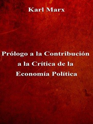 cover image of Prólogo a la Contribución a la Crítica de la Economía Política
