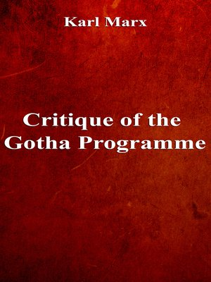 cover image of Critique of the Gotha Programme