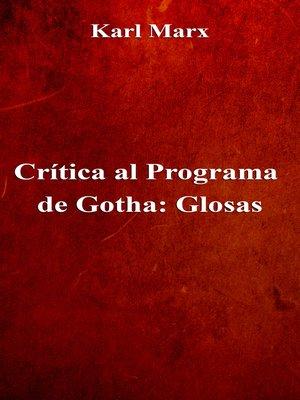 cover image of Crítica al Programa de Gotha: Glosas
