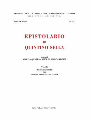 cover image of Epistolario di Quintino Sella